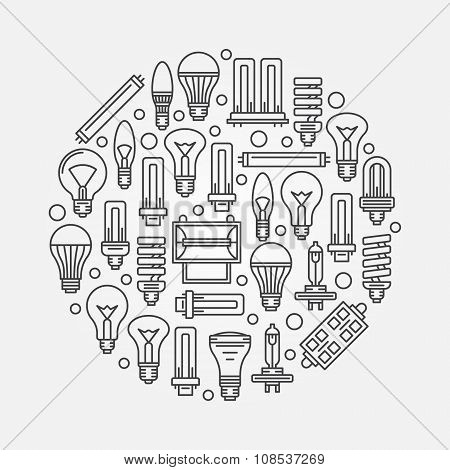 Light bulbs linear illustration