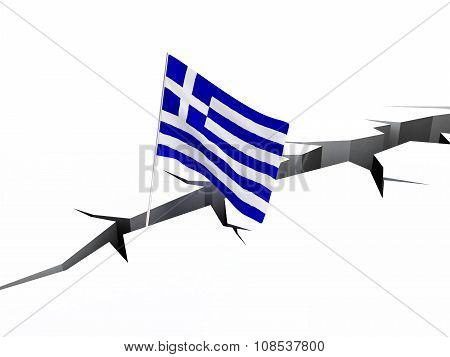 Greece Flag Crack In The Ground