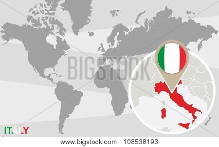 World Map With Magnified Italy