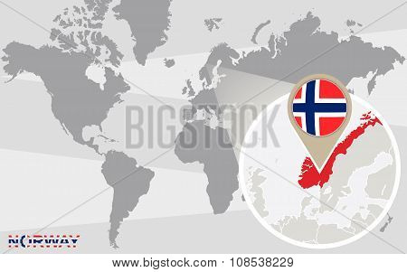World Map With Magnified Norway