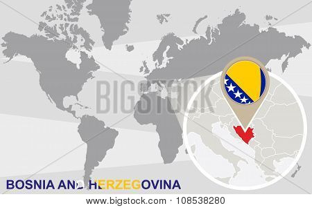 World Map With Magnified Bosnia And Herzegovina