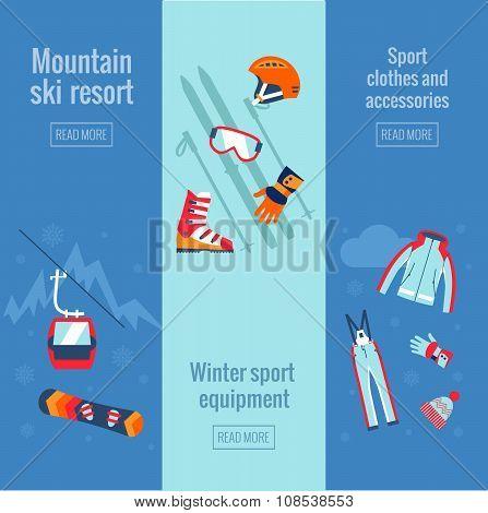 Set of winter sport banners.
