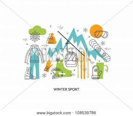 Thin line flat design of winter sport