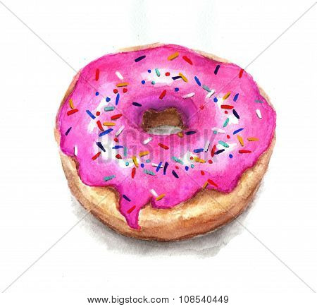 Watercolor Dessert. Watercolor Donut In A Pink Glaze With Rainbow Sugar Sprinkles. Hand Drawn Waterc