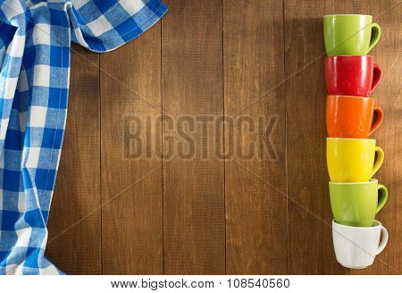 empty ceramic cup on wooden background