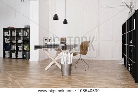 Design studio interior with a work table with equipment below hanging lights in a spacious room with large bookcases and wooden parquet floor. 3d Rendering.
