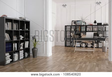 Bookcases and workbench in a minimalist studio office interior with classic white panelled walls and a wooden parquet floor, 3d render, architectural background. 3d Rendering.