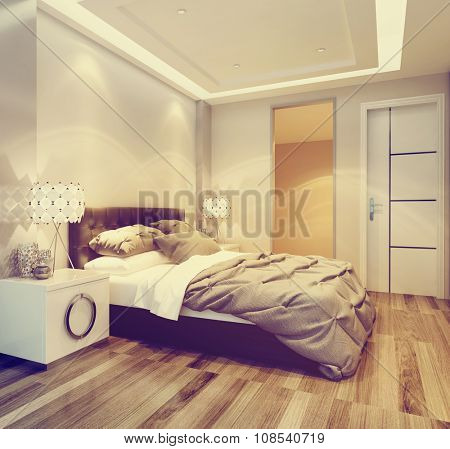 Modern neutral toned beige bedroom interior with a double bed and headboard under overhead lighting on a bare wooden parquet floor. 3d Rendering.