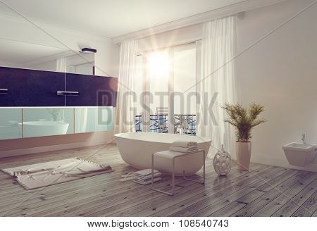 Modern bright bathroom interior with a freestanding white bathtub, long wall mounted vanity and mirror and large windows leading to a balcony allowing in a glowing sunburst. 3d Rendering.