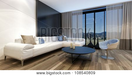Stylish modern entertainment room with a huge wall mounted television set in front of panoramic view windows overlooking countryside, generic couch and tub chair. 3d Rendering.