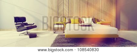 Modern divan style bed flanked by two cabinets in a bedroom interior with a black recliner chair lit by two beams of glowing sunlight, panoramic view. 3d Rendering.