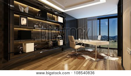 Upmarket home office with a modern desk with a panoramic view through glass windows and large shelving cabinet against the wall, lit by overhead lighting. 3d Rendering.