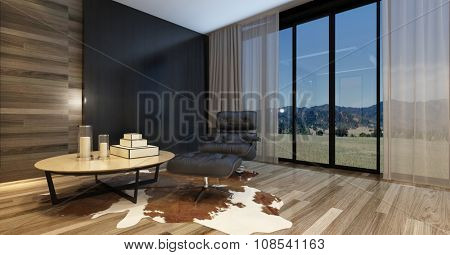 Modern living room in a luxury home with a comfortable recliner chair and table on an animal skin on a wooden parquet floor, large widows with a country view and huge television set. 3d Rendering.