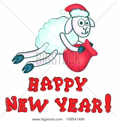 Greeting Card With New Years Sheeps