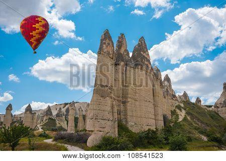 Rock formations in Love Valley of Cappadocia