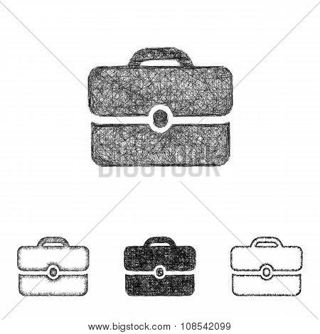 Briefcase icon set - sketch line art