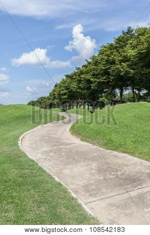 The Curved Pathway Green Golf Course And Beautiful Nature Scene.