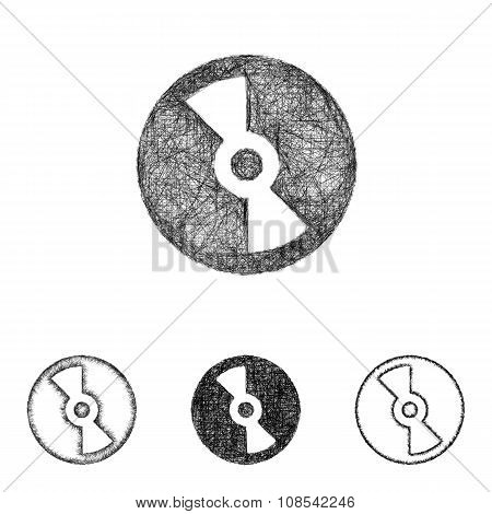 Compact disc icon set - sketch line art