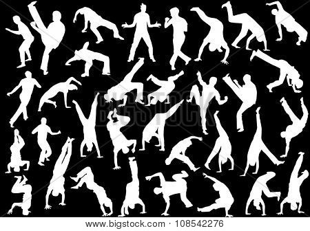 illustration with different fighter silhouettes isolated on black background