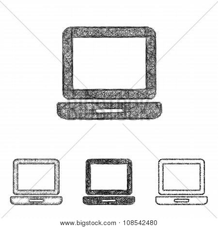 Laptop icon set - sketch line art