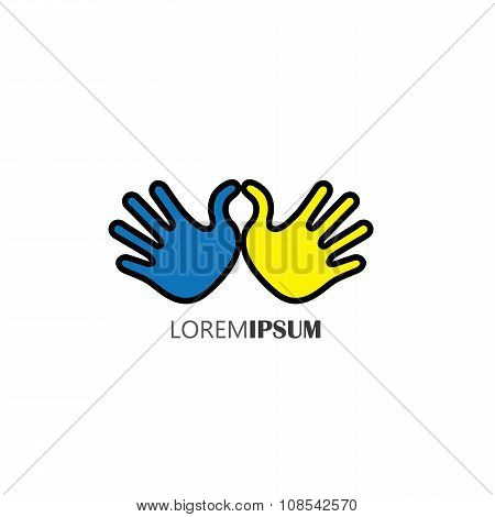 Hands Together - Concept Vector Of Support, Care, Love & Friendship