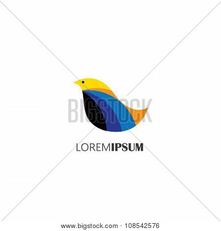 Vector Icon Of Beautiful Multicolored Bird Of Paradise