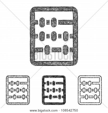 Abacus icon set - sketch line art