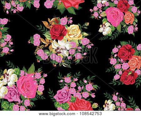 illustration with pink flowers isolated on black background