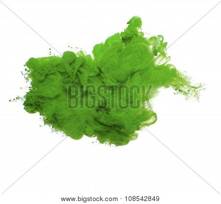 Abstract Of Green Acrylic Paint In Water..