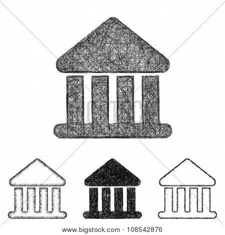 Bank icon set - sketch line art