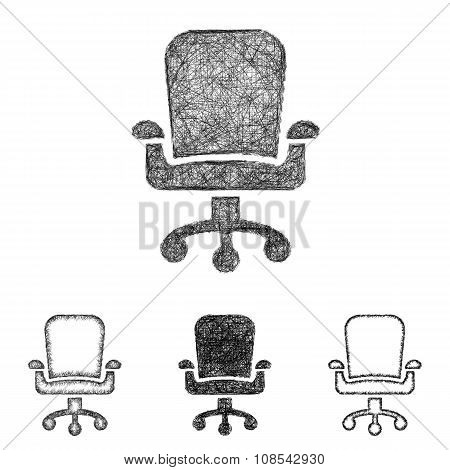 Swivel chair icon set - sketch line art