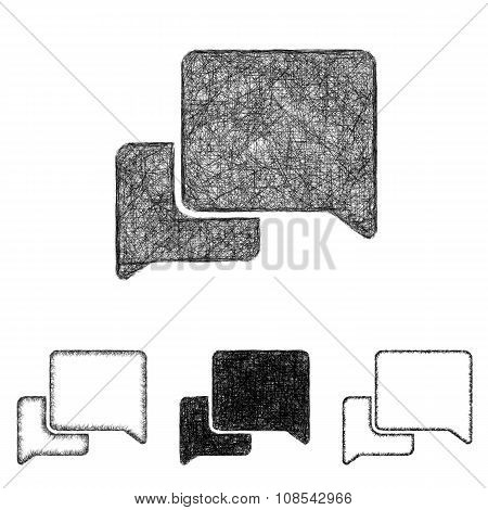 Conversation icon set - sketch line art