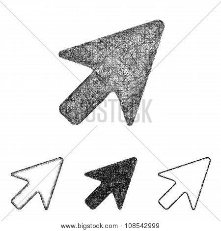 Cursor icon set - sketch line art