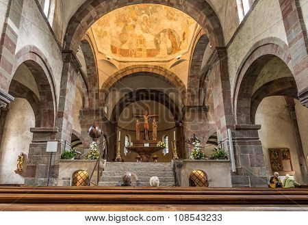 Inside Of Abbey Church In San Candido.