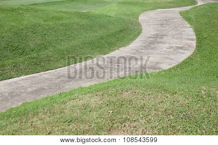 Path Curving Through Green Grass In Golf Course