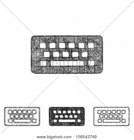 Wireless keyboard icon set - sketch line art