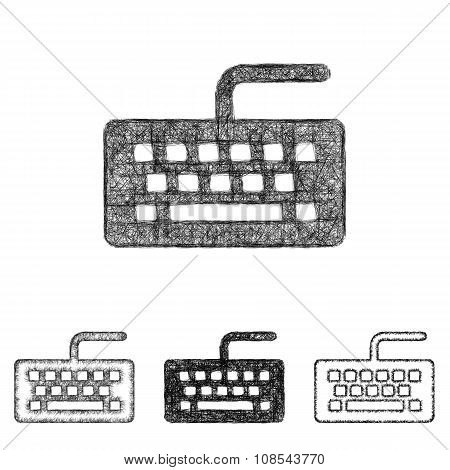 Keyboard icon set - sketch line art