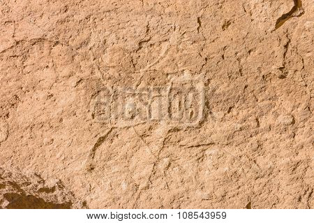 Native American petroglyphs or hieroglyphs at Bandelier in New Mexico