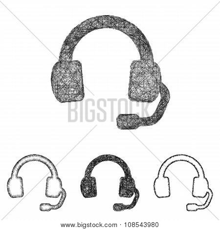 Headphone icon set - sketch line art