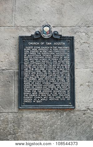 San Agustin Church marker in Manila, Philippines