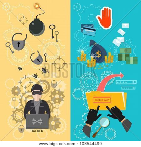 Hacker Banners Password Guessing Data Protection Virus Infection Theft Of Money Bank Card