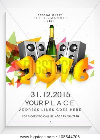 Flyer, Banner or Pamphlet with loudspeaker and champagne for Happy New Year's 2016 Eve Party celebration.