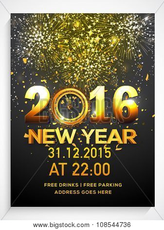 Shiny fireworks decorated Flyer, Banner or Pamphlet with golden text 2016 and Clock for Happy New Year's Eve Party celebration.
