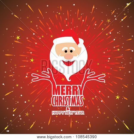 Holidays Card Vector Design With Santa Claus And Words Inscription - Merry Christmas And Happy New Y