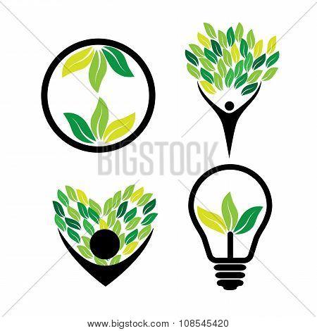 Person Loving Trees, Eco Idea, Green Energy - Eco Concept Vector Icon Set