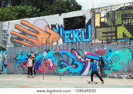 Graffiti Wall Skate Park in Intramuros, Manila, Philippines