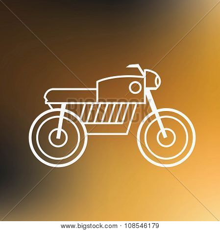 Motorbike Thin Line Icon Isolated On Blured Background