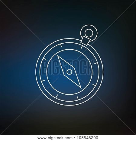 Compass Thin Line Icon Isolated On Blured Background