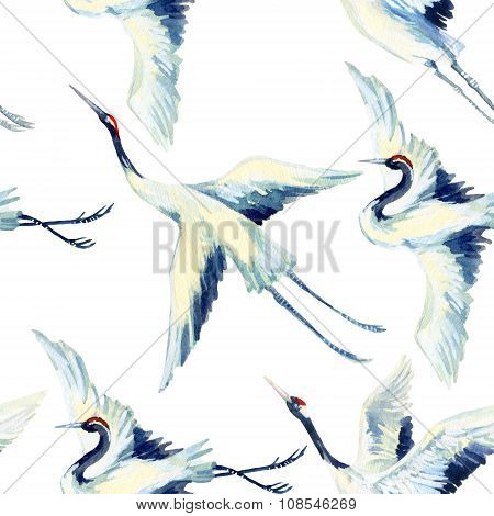 Watercolor Asian Crane Bird Seamless Pattern
