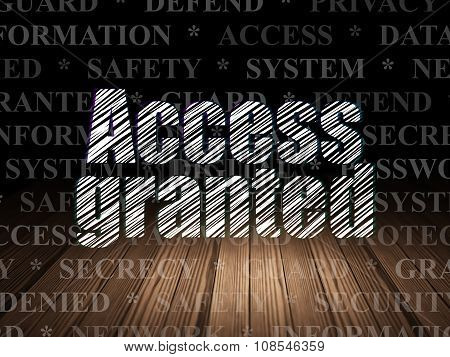 Safety concept: Access Granted in grunge dark room